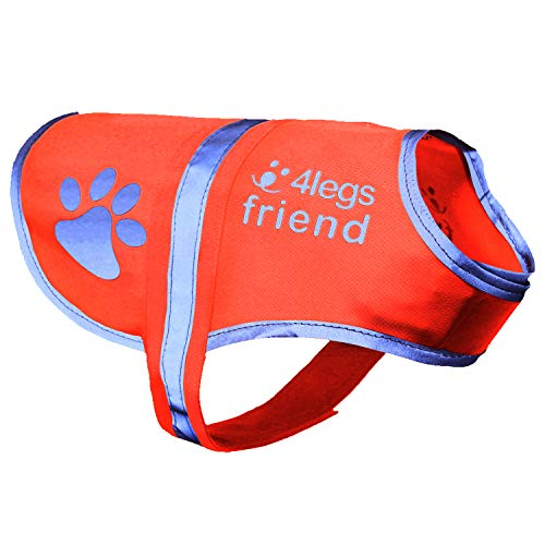 4LegsFriend Hunde Sicherheitsweste (5 Größen, S) - Hohe Sichtbarkeit für Outdoor Aktivitäten Tag und...