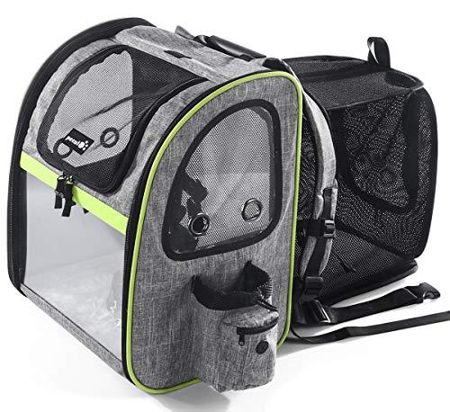 Pecute Haustier Rucksäcke für Hund und Katzen mit Front Opening Transparente Fenstertaschen,Tragbare...
