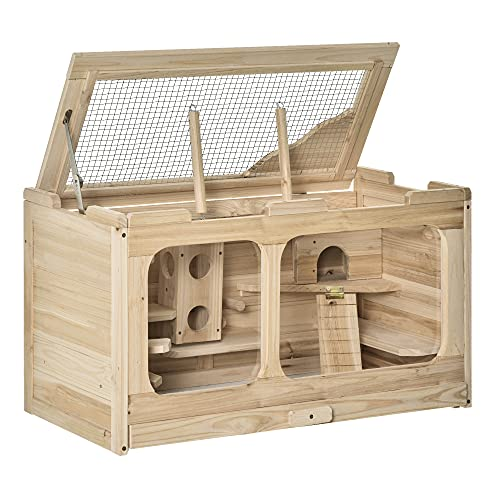 Pawhut Hamsterkäfig Holz Nagerkäfig Mäusekäfig mit Rampe Schaukel Nagervilla Oben aufklappbar...