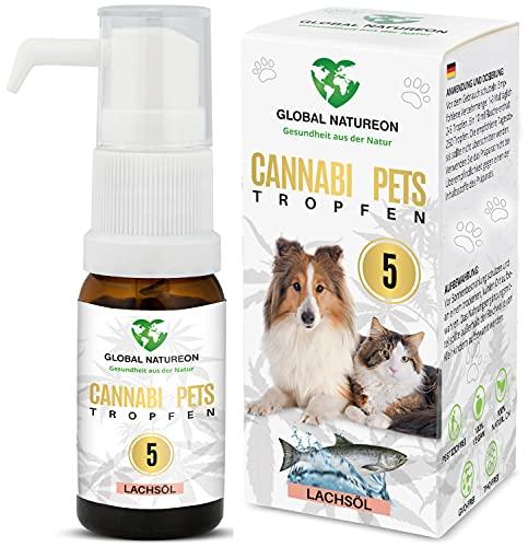 GLOBAL NATUREON® CANNABI Pets ÖL 5 Prozent (10 ml) auf Lachsölbasis für Hunde und Katzen, Tropfen...