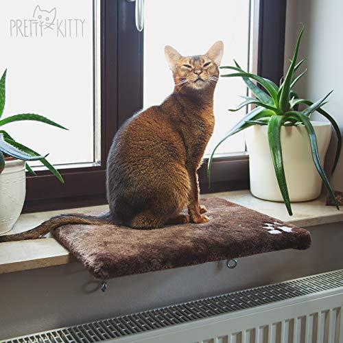 PRETTY KITTY Katzen Fensterbett: Kuschelige Katzen Fensterliege für die Fensterbank, Premium Katzenbett...