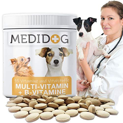 Medidog 300 Vitamin B Komplex für Hunde Tabletten, Mit Multivitamin-Formel Haut + Fell Biotin,...