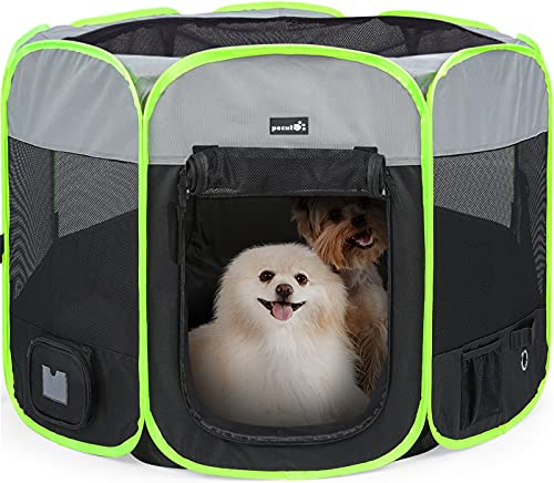 Pecute Hundelaufställe, Welpenlaufstall(100 * 100 * 59cm),Faltbarer Übungskasten Hundezaun
