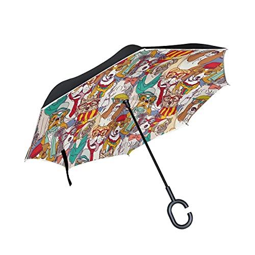 Taschenschirme Niedlichen Hund Mops Welpen Invertierter Regenschirm UV-Schutz Winddichter Umbrella...