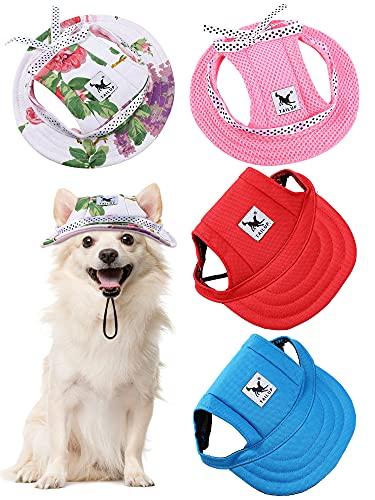 4 Stücke Haustier Baseball Hut Runde Krempe Prinzessin Kappe Outdoor Sport Sonnenschutz Kleidung mit...