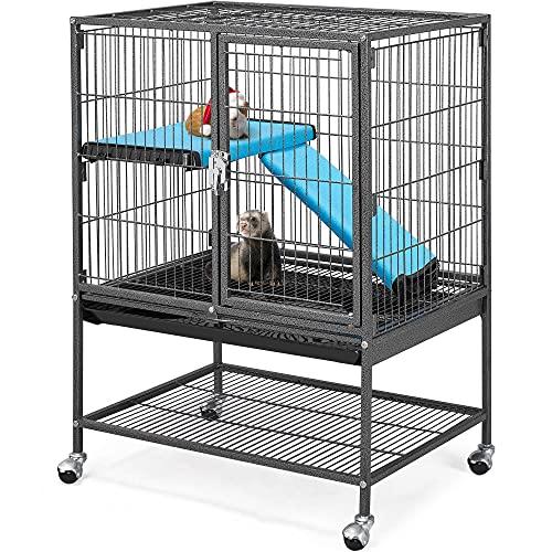 Yaheetech Kleintierkäfig, Metallkäfig für kleine Haustiere, Kaninchenstall mit 4 Räder, Käfig mit...