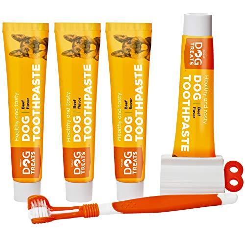Natural Dog Treats Hundezahnbürste und 4X Zahnpasta Set für Hunde, Rindfleischgeschmack Premium...