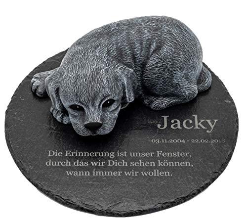 Tiefes Kunsthandwerk Gedenkstein Hund mit Wunschtext als Gravur, für Dein Haustier als wunderschöne...