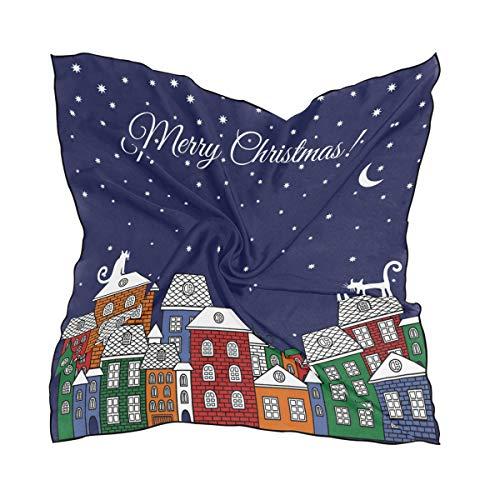 FANTAZIO Halstuch für Mädchen mit weihnachtlichen Katzenhäusern, leicht, modisch, quadratisch