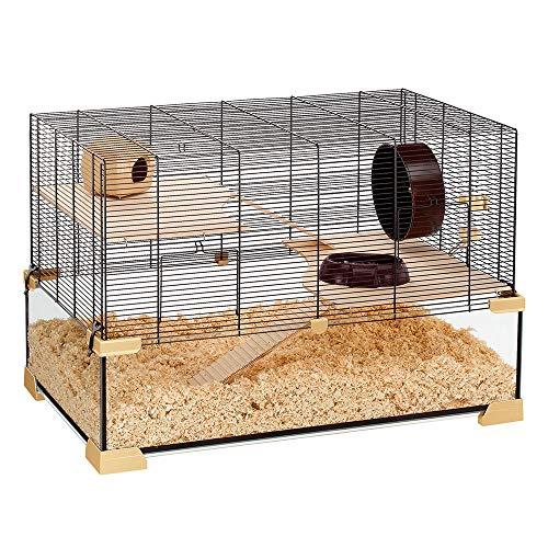 Ferplast Käfig für Hamster oder Mäuse KARAT 80 Kleine Nagetiere, Zwei Ebenen mit Zubehör, aus Glas...