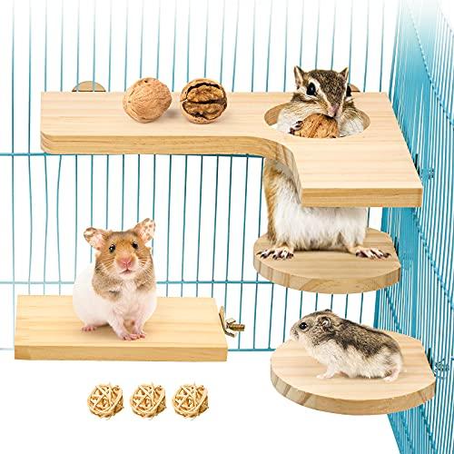 4 teiliges Hamster Zubehör Set, Kleintier Plattform Naturholz Hamster Spielzeug für den Käfig für...