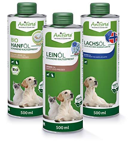 AniForte Barf-Öl Set 3 mit je 500ml Leinöl, Hanföl und Lachsöl für Hunde & Katzen – Naturprodukt,...
