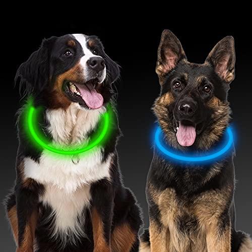 Leuchthalsband Hund, 2 Stück Led Hundehalsband USB Aufladbar Wasserdicht 3 Blinkende Lichter Hunde...