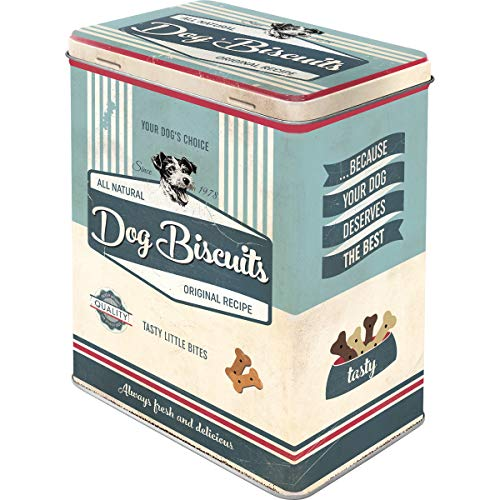 Nostalgic-Art 30145, PfotenSchild Bisquits, Vorratsdose L, Metall, Dog Biscuits, 10 x 14 x 20 cm