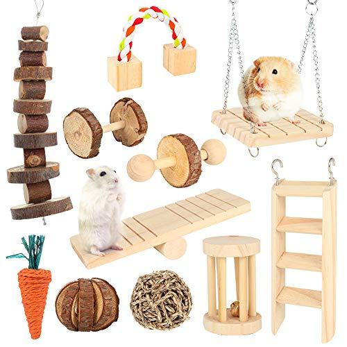 fanshiontide 11 Stück Hamster Chew Toys Natürliche Hanteln Aus Holz Übung Bell Roller Zähne Pflege...
