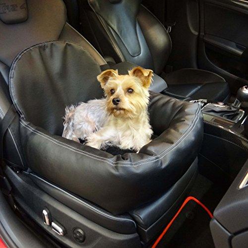 Knuffliger Leder-Look Autositz für Hund, Katze oder Haustier inkl. Gurt und Sitzbefestigung
