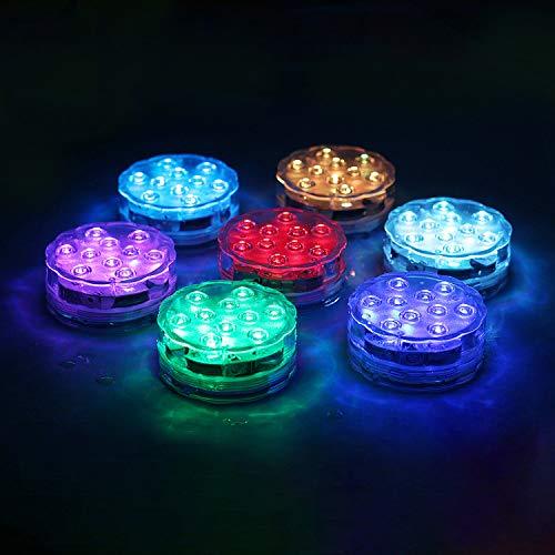 wolketon Unterwasser Licht, IP68 Wasserdichte LED Leuchten 4 Stück mit Fernbedienung RGB Multi...