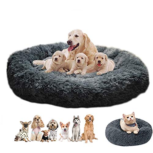 Haustierbett Hundebett Katzenbett Flauschig Rund, Orthopädisches Hundebett atmungsaktiv, rund Hundekorb...