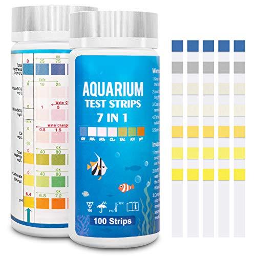 Funsw 7-in-1-Aquarium-Teststreifen, Süßwasser-Master-Set, Wassertest-Set für Teich und Aquarium,...