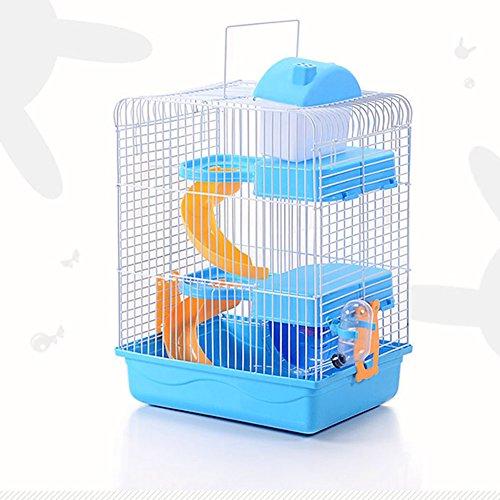 Alician Haustier-Hamsterkäfig, 3 Etagen, tragbar, Mäuse, Heimdekoration blau