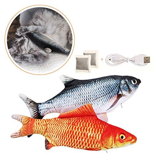Charminer 2pcs Katzenspielzeug Fische, Elektrische Fische mit Katzenminze Katze Interaktive Spielzeug...