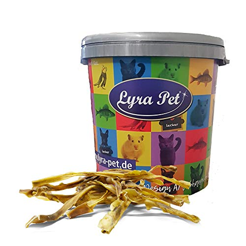 Lyra Pet® 2 x 10 Rinderkopfhautstangen ca. 50 cm Hundefutter Kaustange Kauknochen Rohleder Rind...