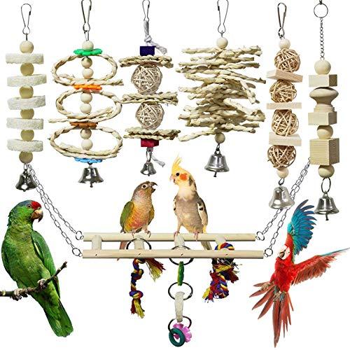 onebarleycorn – 7 Stück Vogel Papagei Glöckchen Swing Spielzeug, Vogelspielzeug Kauspielzeug aus...