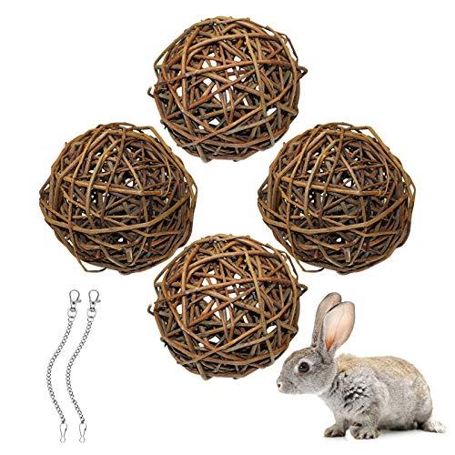 4 Stück Weidenkugel(10cm), Kauspielzeug Für Kaninchen, Meerschweinchen Spielzeug, Vogel Kauspielzeug,...