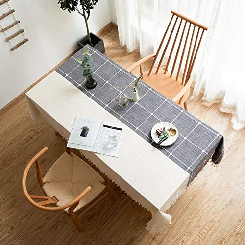 CCBAO Zweifarbige Küchentischdecke Für Das Wohnzimmer Zu Hause, Staubdichtes Tuch Mit Gitterfransen,...