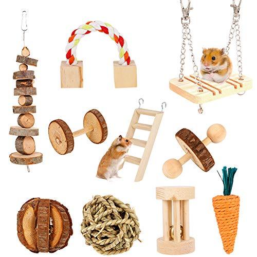 SUSSURRO Hamster Kauspielzeug, 10 Stück Natürliches Kiefernholz aus Holz Übung Glockenrolle Zahnpflege...