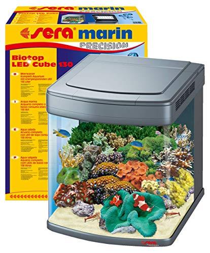 sera marin Biotop LED Cube 130 - 130 l Meerwasser-Komplettaquarium mit LED Beleuchtung und Filtration