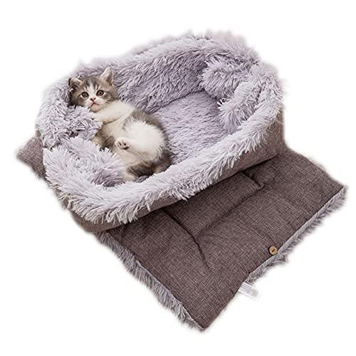 ToKinCen Katzenbett Waschbare 2 in 1 Katzenbett Plüsch Weich Katze Schlafen Bett Katzensofa Flauschige...