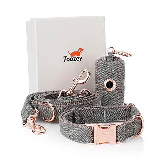 Toozey Hundeleine (2m) + Hundehalsband + Beutelspender im Set, Verstellbar Hundehalsband und Leine Set...