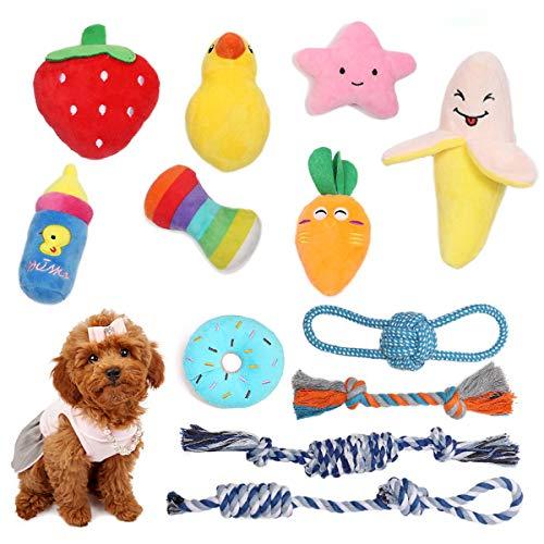 Feeko Quietschendes Welpenspielzeug aus Plüsch, 12 Stück Hundespielzeug, Kauspielzeug für Welpen,...
