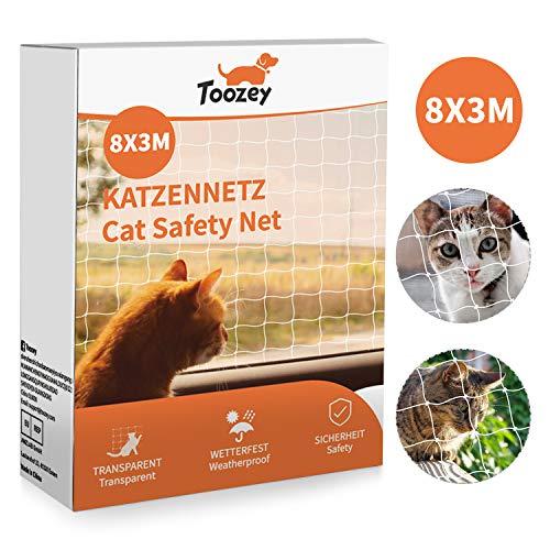 Toozey Katzennetz Katzenschutznetz für Balkon und Fenster, 8x3m Balkonschutznetz, Katzennetz...
