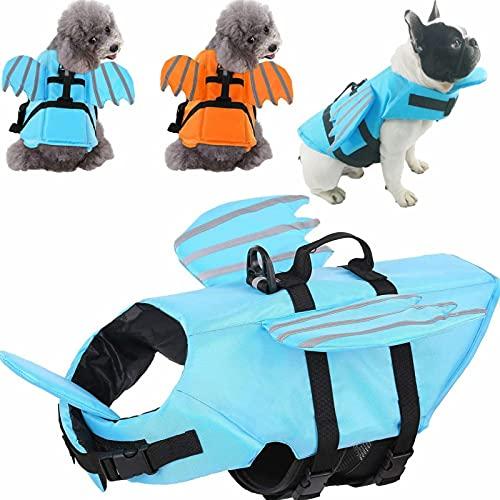 Hjyokuso Hundeschwimmweste mit Flügeln, verstellbar, reflektierend, Schwimmweste für Haustiere mit...