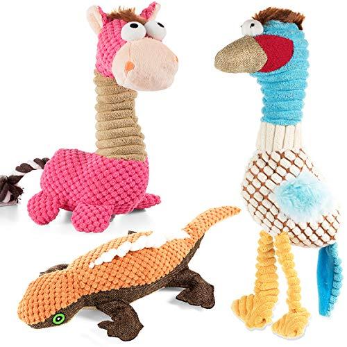 VIEWLON Hundespielzeug Quietschendes, 3er-Pack Hund Plüschspielzeug Set, Langlebiges Kauspielzeug,...