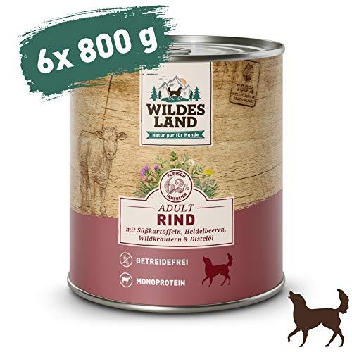 Wildes Land | Nassfutter für Hunde | Nr. 5 Rind | 6 x 800 g | mit Süßkartoffeln, Heidelbeeren,...