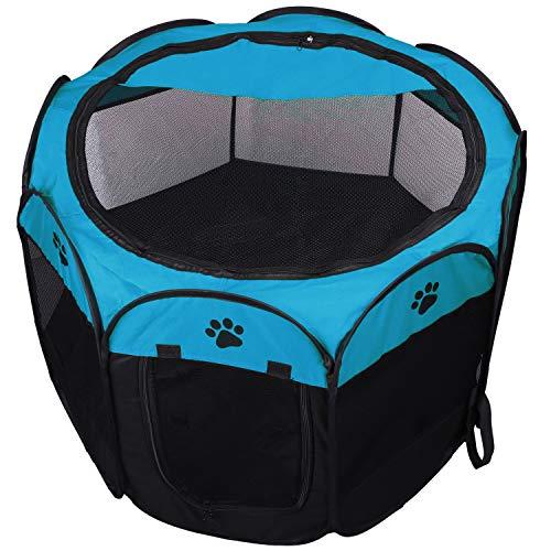KEESIN Faltbares Haustier Zelt 8-Panel Mesh Haus WelpenLaufstall Hundehütte für Hunde Katze Kaninchen...