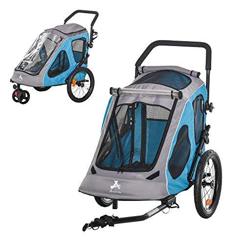 Pawhut 2-in-1 Fahrradanhänger Haustier Hundeanhänger Oxfordstoff Atmungsaktiv Metall Oxford-Gewebe Blau...