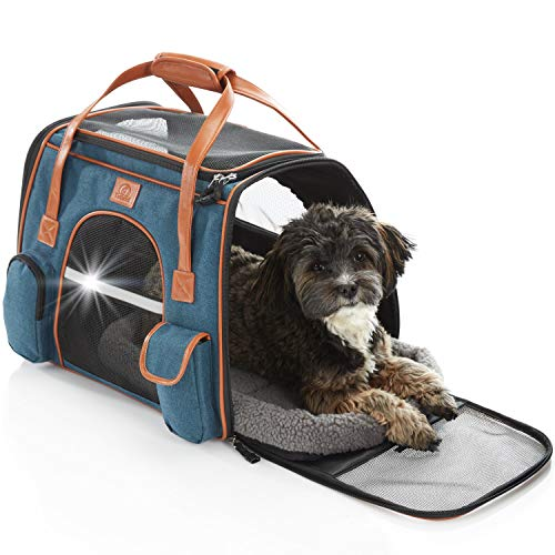 Tierhood Hundebox aus Stoff - Luxusdesign - Hundetasche für kleine Hunde bis 10kg - für Auto und Reisen...