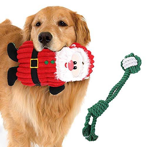 Angel's Pride Kaubeständiges Weihnachtsspielzeug für Hunde Weihnachtsmann Quietschespielzeug und Tau 2...
