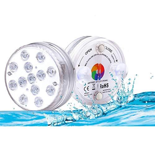 Lacmisc Unterwasser Licht, Wasserdichtes LED Licht Mehrfarbrige RGB Unterwasserlicht mit RF-Fernbedienung...