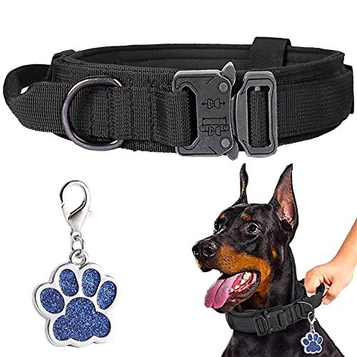 LIVETTY Verstellbare Hundehalsband Robuste Kontrollgriff, Taktisches Hundehalsband mit Robuste...