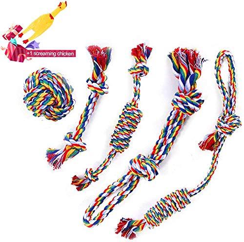 Seil für Aggressive Kauen,Tau Hund Spielzeug, Natürlicher Baumwolle Hundeseile,Kauspielzeug...