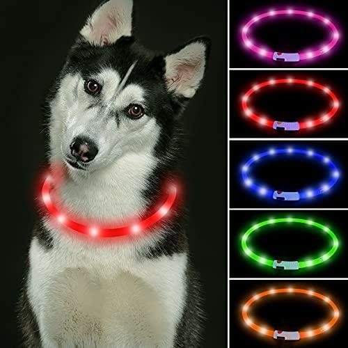 LED Leuchthalsband für Hunde USB Aufladbar LED Hundehalsband Große Hunde Stück hundehalsband Leuchtend...