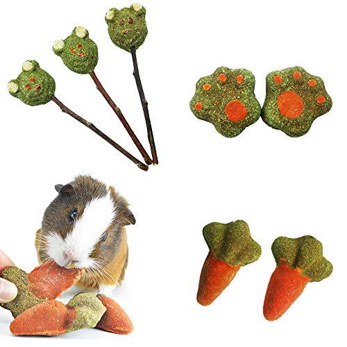 ZLLOO Hamster Kauspielzeug Natürliche Timothy Graskuchen Kau-Leckerlis Und Graslutscher für Kaninchen,...