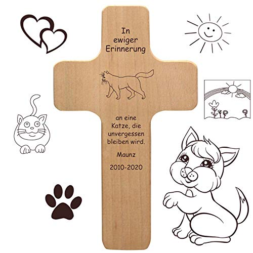 Katzenkreuz mit individueller Gravur - Name, Spruch, Motiv - Holzkreuz für Katze oder Kater als...