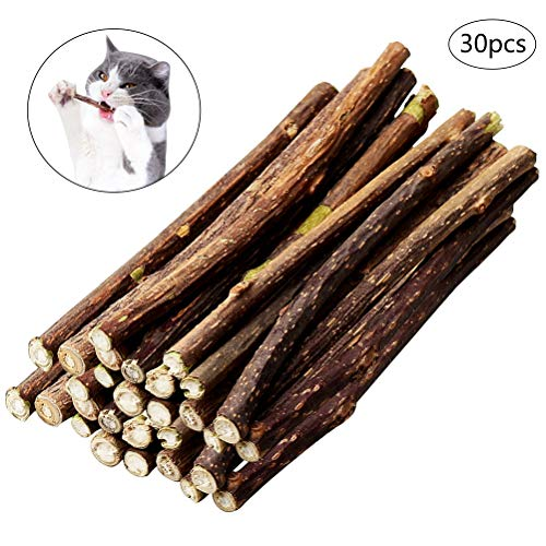 nuoshen 30 Stücke Katzenminze Sticks, Katzenspielzeug und Zahnpflege 100% Biologisch Katzenminze...