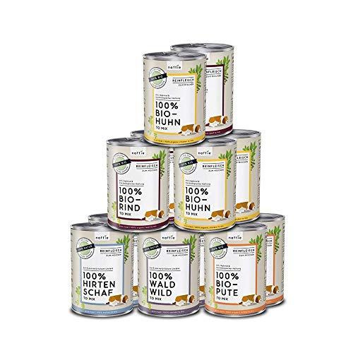 naftie Bio Hundefutter Reinfleischdosen Mischpakete | 100% Reinfleisch pur Spar-Pakete | zum Mischen,...